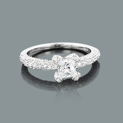 Unique Engagement Ring Mountings: Round Diamond Setting 0.49ct 14K