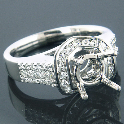 Unique Engagement Ring Settings 18K Diamond Setting .75