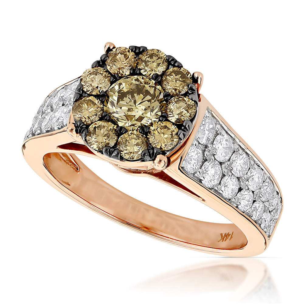 Unique Engagement Rings For Women: Unique Engagement Rings: 14K Gold Cluster Diamond Ring For