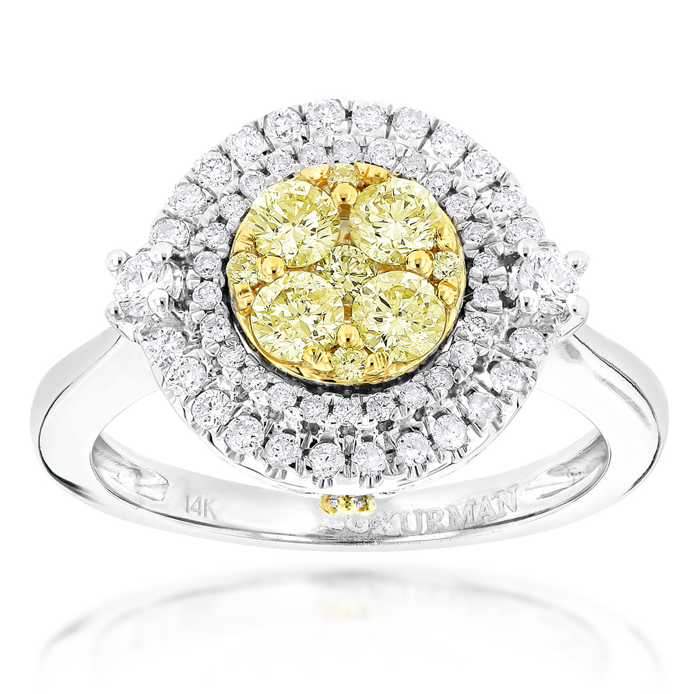 Unique Engagement Rings: 14K Gold White Yellow Diamond Ring for Women 1.2ct White Image