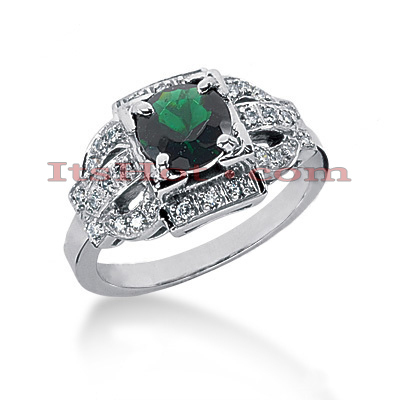 Unique Engagement Rings: Diamond and Emerald Ring 14K 0.21ctd 1cte Main Image