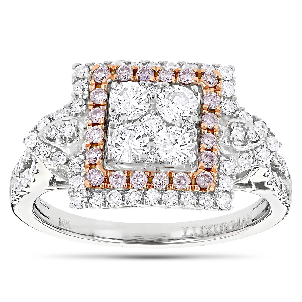 Unique Engagement Rings: Ladies White Pink Diamond Cluster Ring 14K Gold White Image