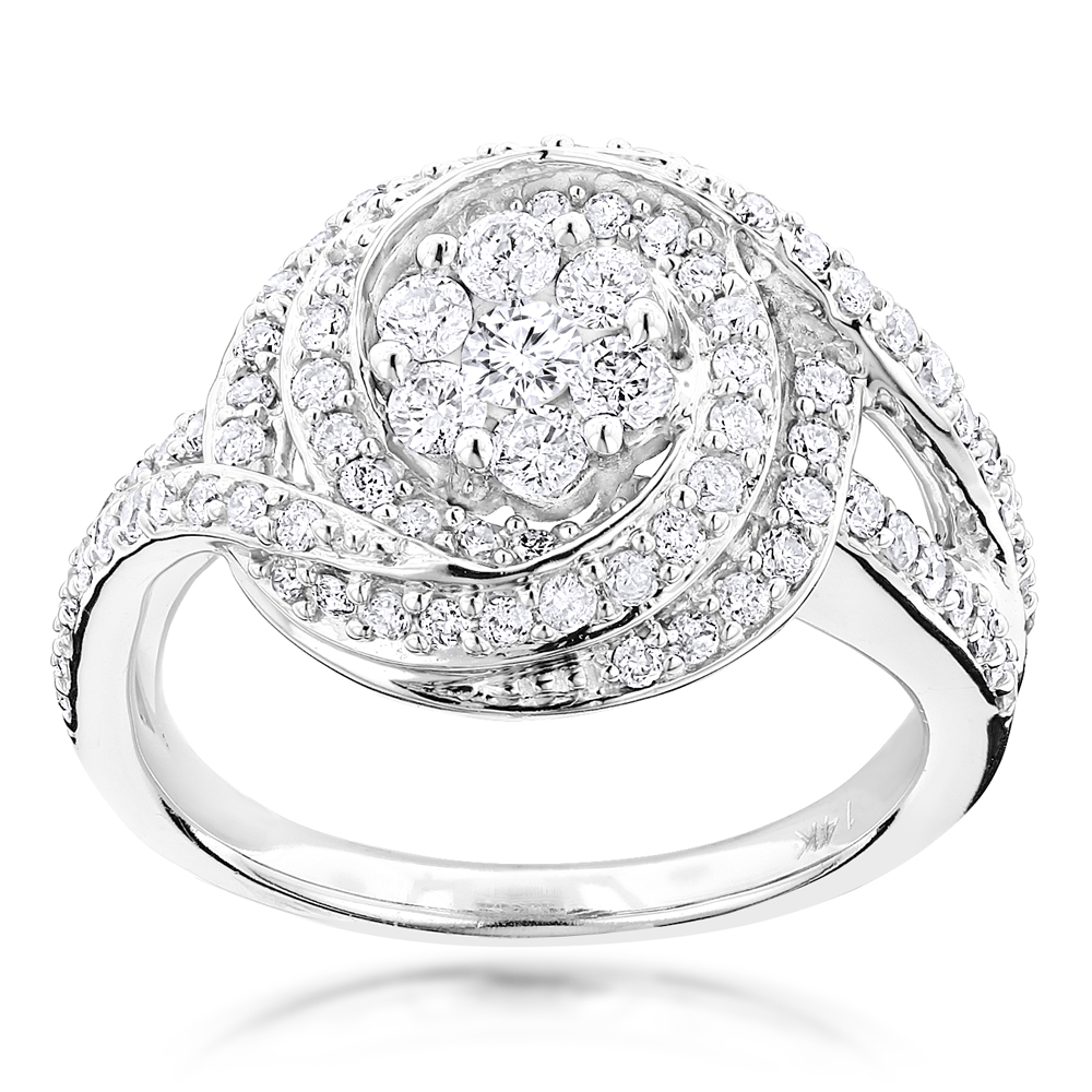 Unique Engagement Rings: Round Diamond Ring 1.15ct 14K Gold White Image