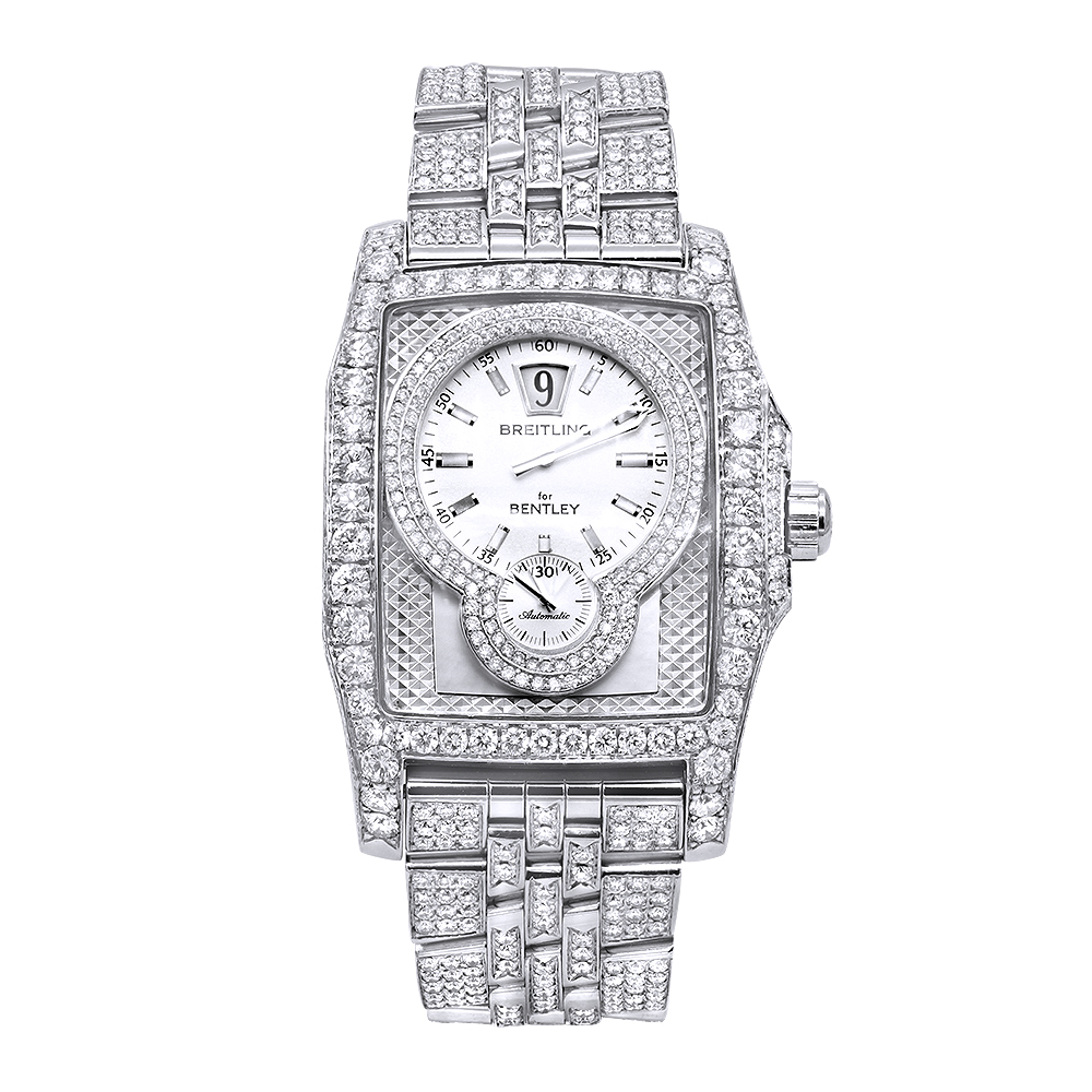Unique Iced Out Diamond Breitling for Bentley Flying B Watch for Men 20ct  Main Image