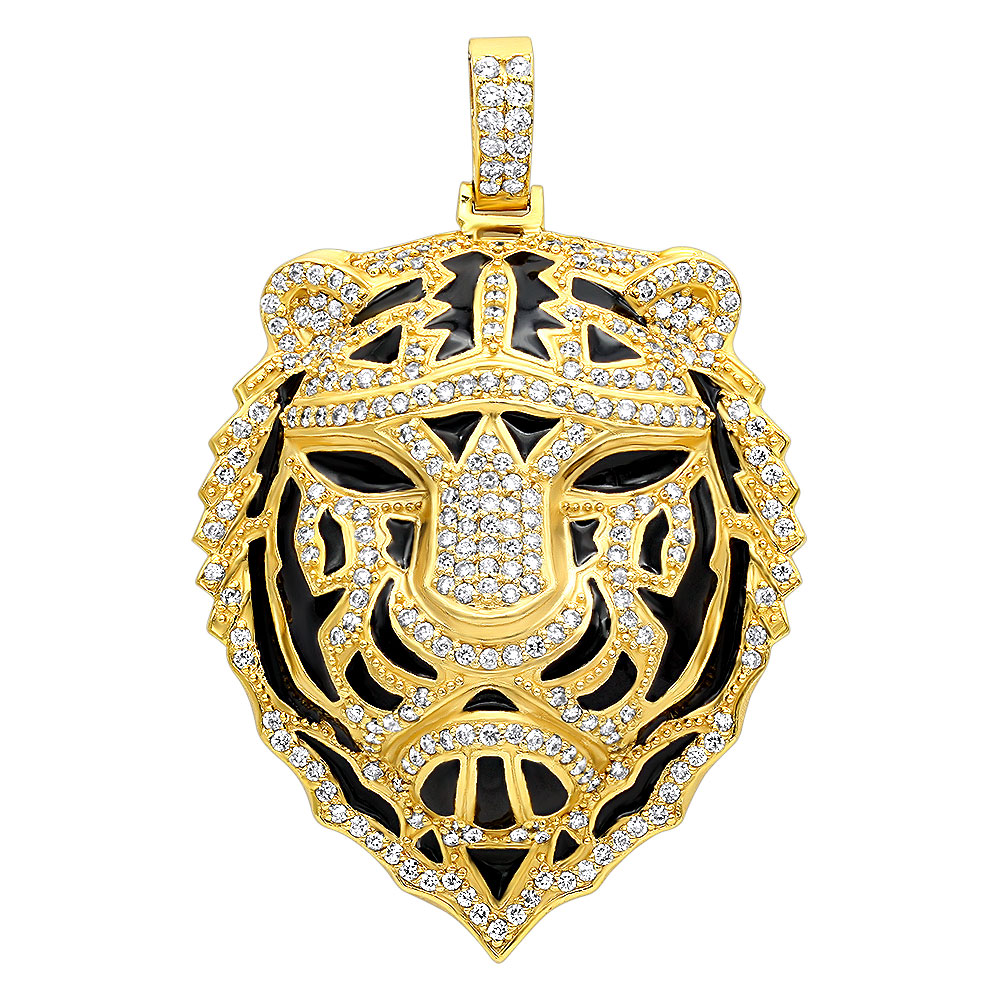 Unique Jewelry Mens Diamond Tiger Pendant 14k Gold with Black Enamel 4ct