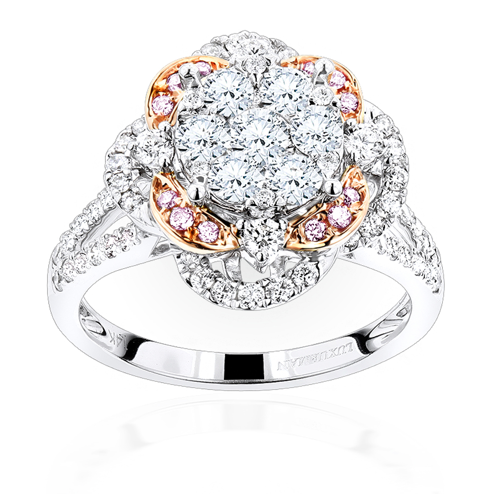 Unique Ladies Cluster Flower Diamond Engagement Ring in 14K Gold 1.75ct White Image