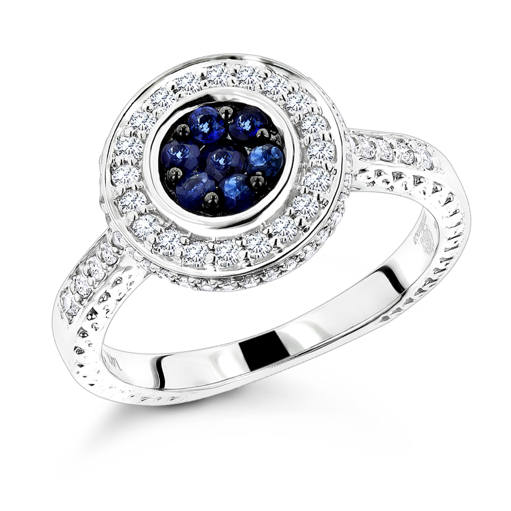 Unique Ladies Diamond Rings: 14K Gold Blue Sapphire Engagement Ring 0.7ctw White Image
