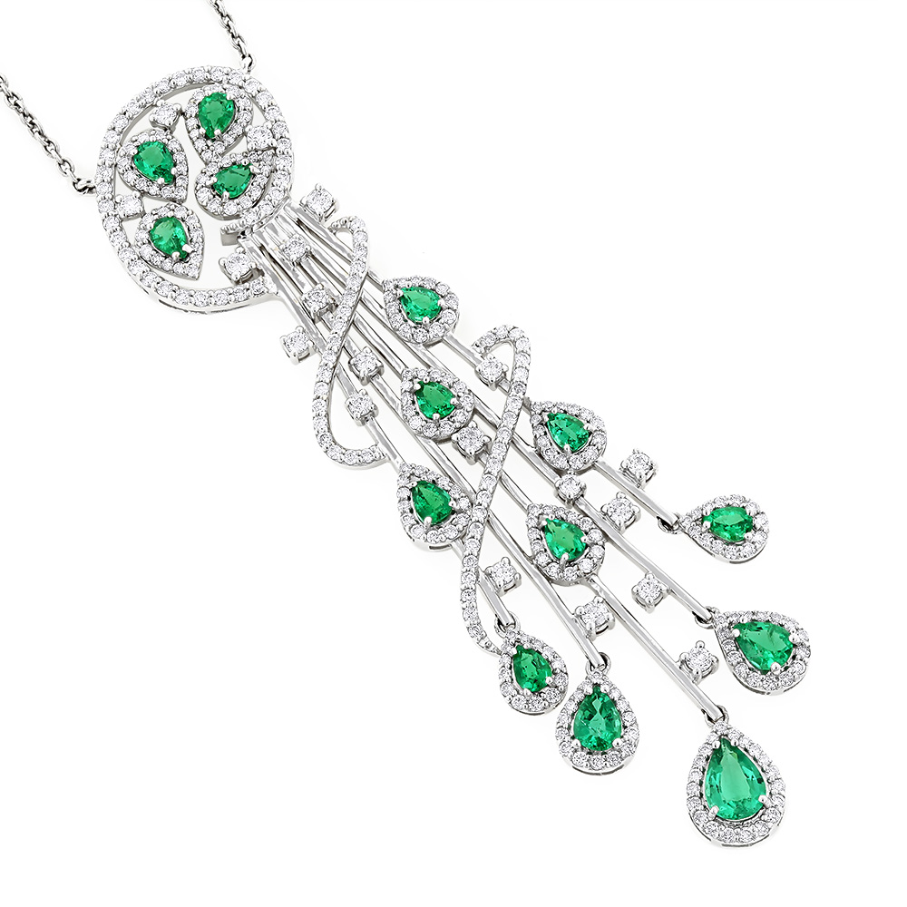 Unique Ladies Peridot Diamond Chandelier Teardrop Necklace in 18K Gold 3ct White Image