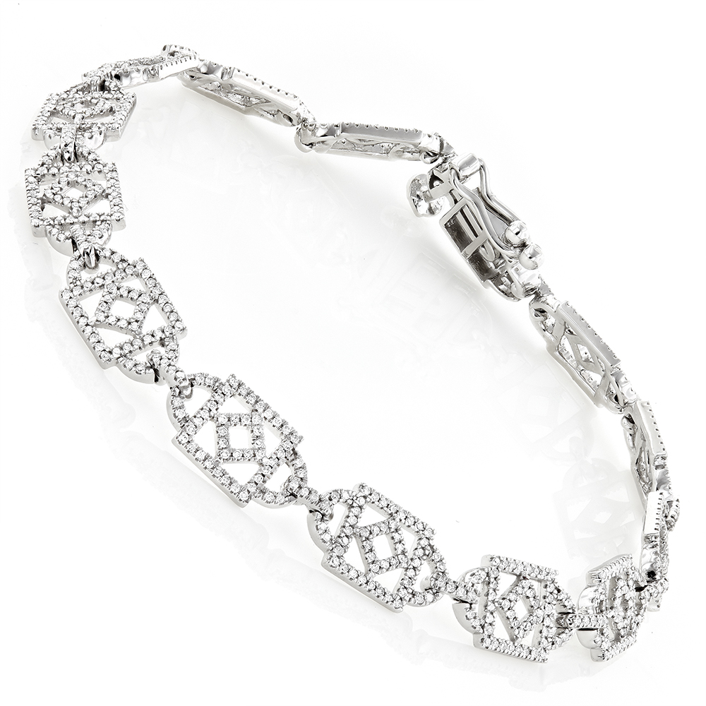 Unique Ladies Round Diamond Bracelet 14K Gold 1.3ct White Image