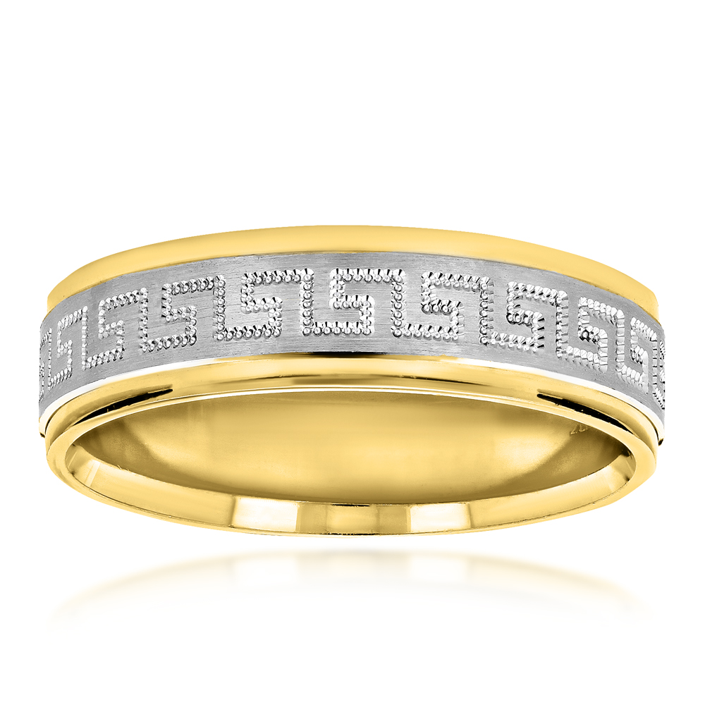 Unique Looking Solid 14K Two Tone Gold Wedding Band for Men Comfort Fit