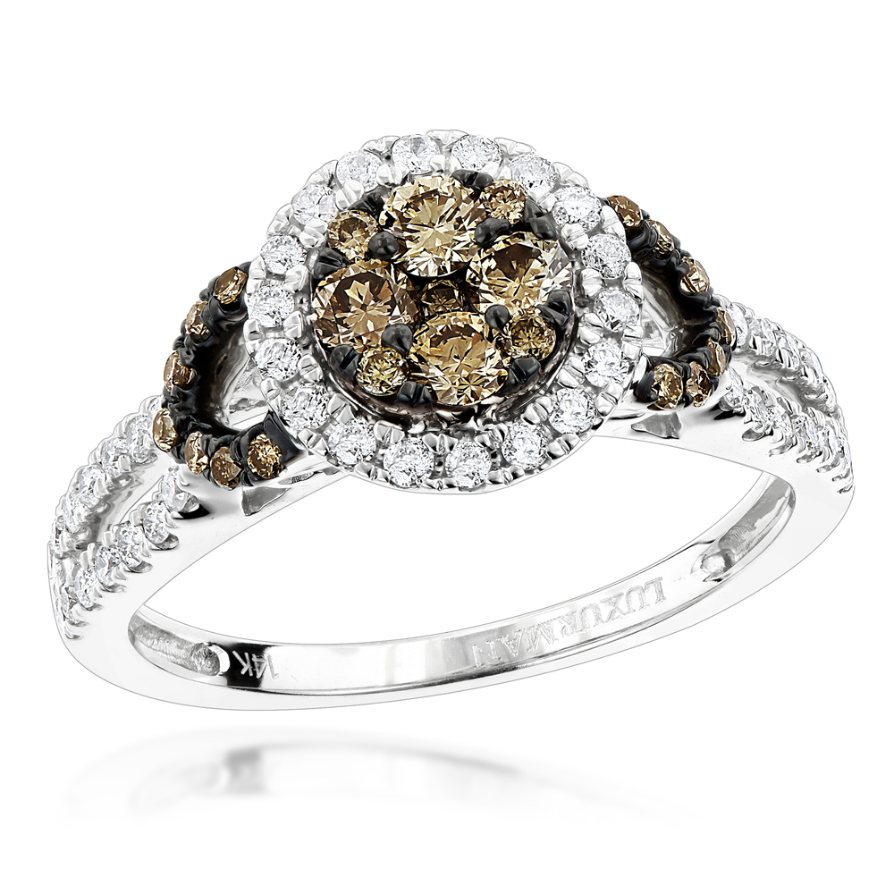 Unique Luxurman 14K Gold White & Champagne Diamond Engagement Ring 0.9ct White Image