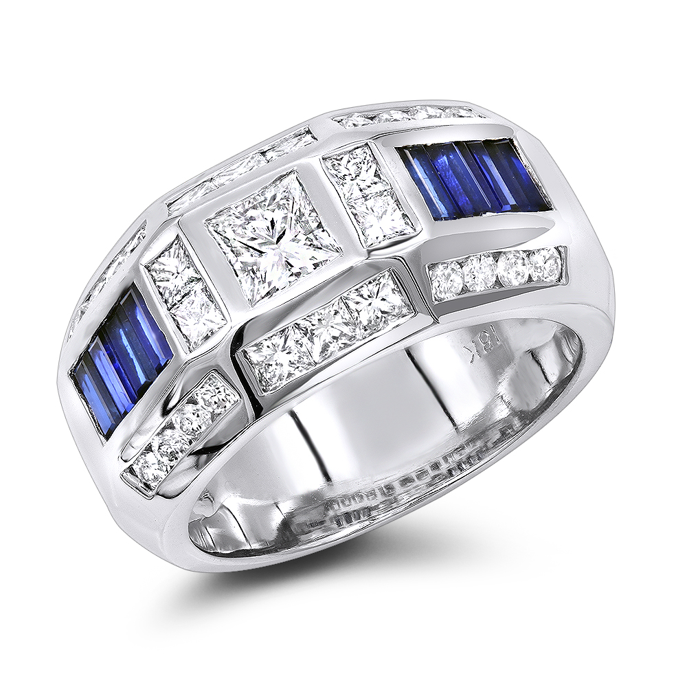 Unique Luxurman Bands 18K Gold Sapphire Diamond Ring for Men 3.5ct White Image