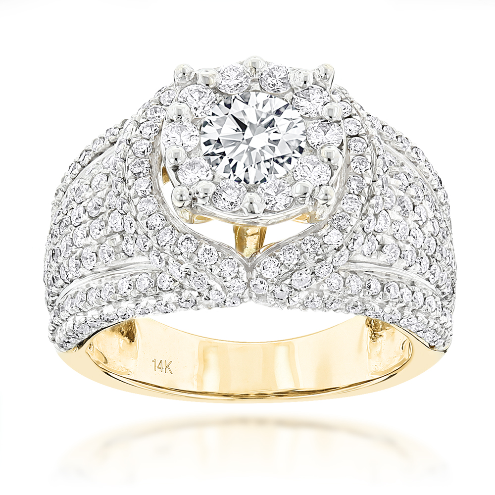 Unique Luxury 14K Gold Diamond Engagement Ring 2.79ct Yellow Image