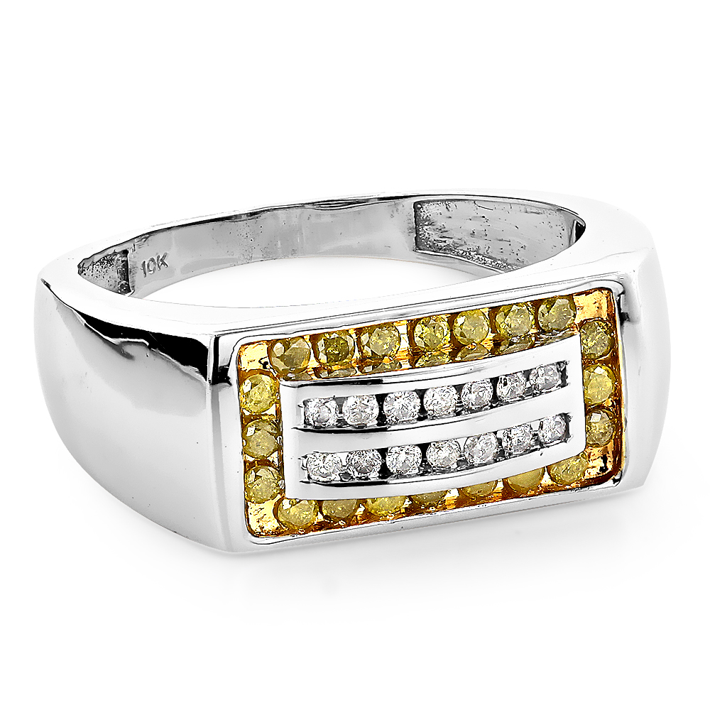 Unique Men's Diamond Bands 10k Gold White & Yellow Diamonds Pinky Ring unique-mens-diamond-bands-10k-gold-white-yellow-diamonds-pinky-ring_1