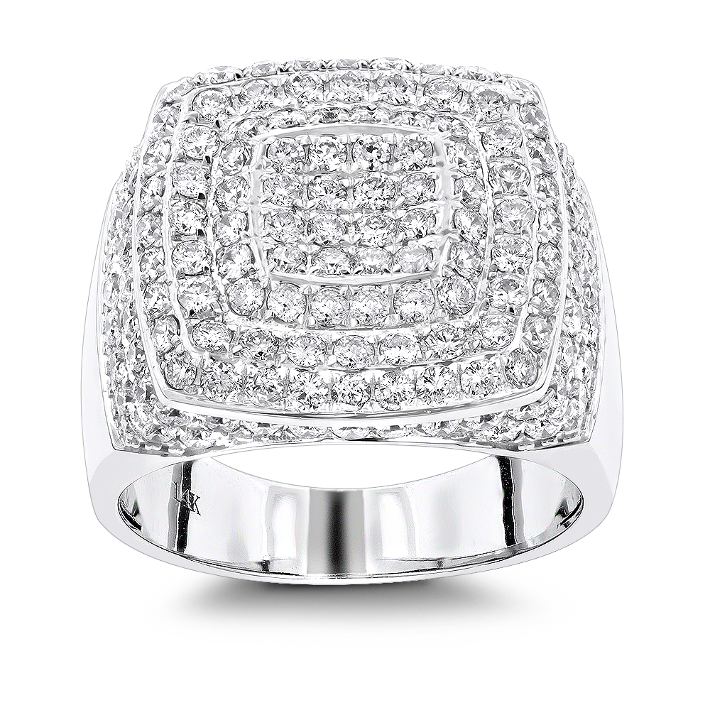 Unique Mens Diamond Gold Ring by Luxurman 3.5ct Pave Set Round Diamonds 14K White Image