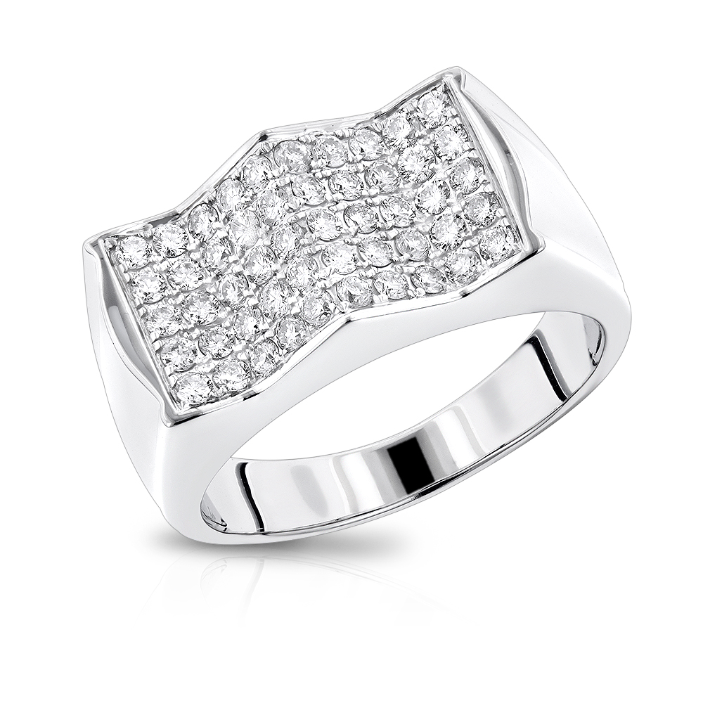 Unique Mens Diamond Ring by Luxurman 1.1ct 14K Gold White Image