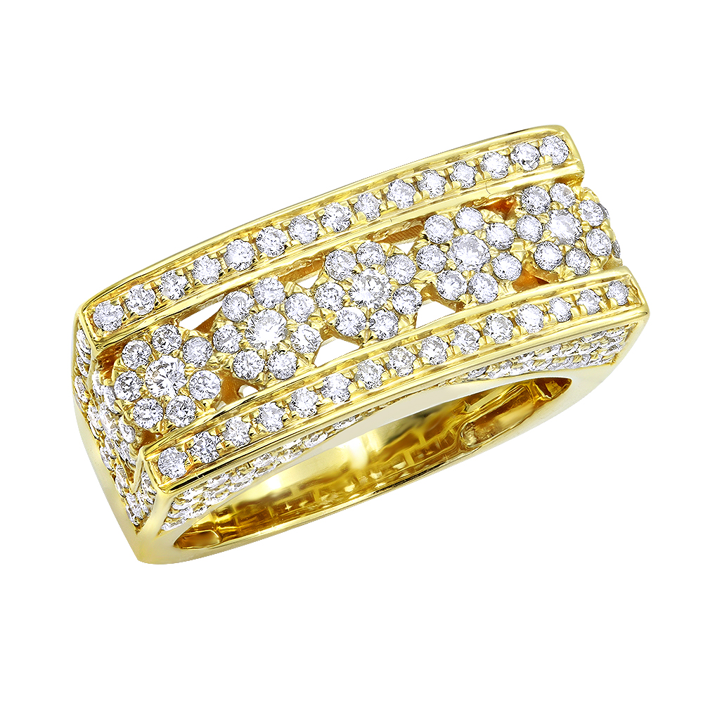 Unique Men's Diamond Ring in 14k Gold By Luxurman 2.25ct Yellow Image