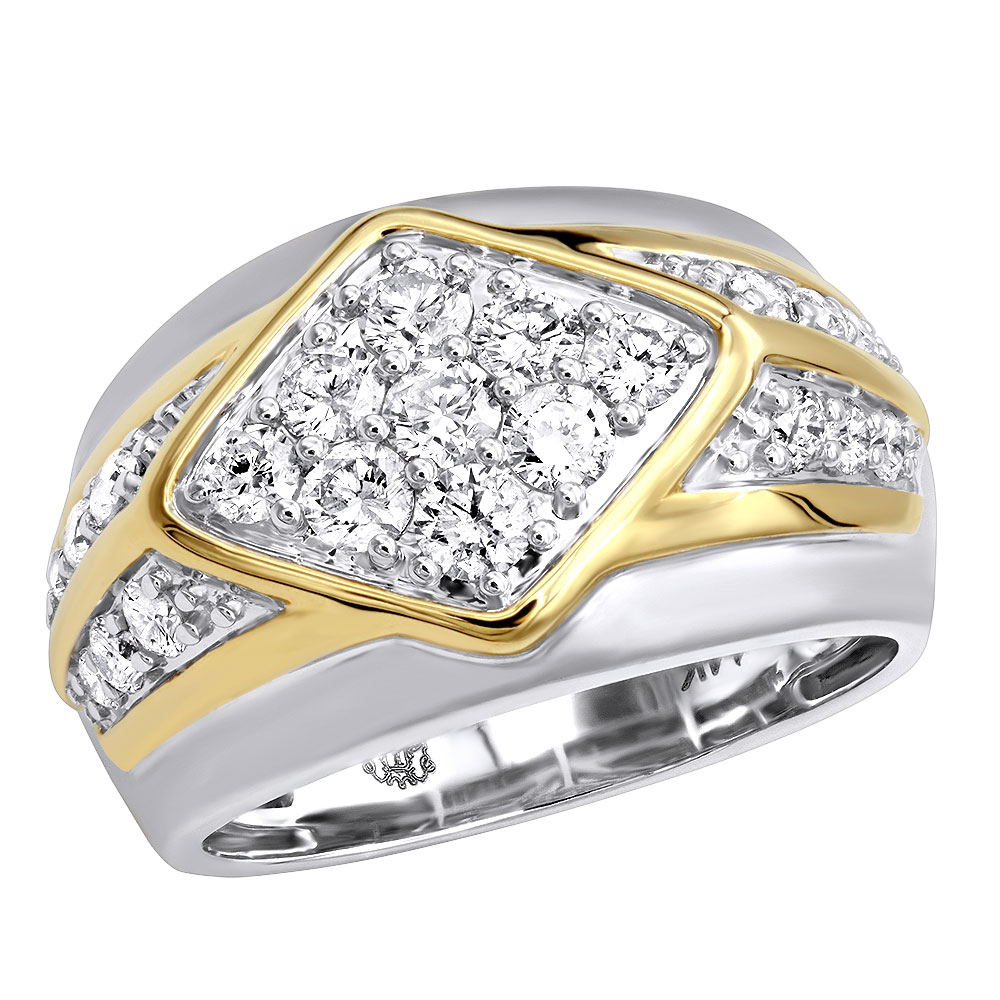 Unique Mens Diamond Ring in 14k Gold Luxurman Wedding Band 1.6ct White Image