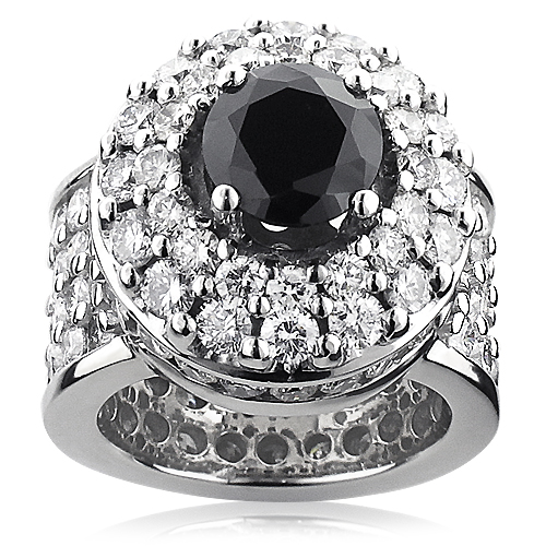 Unique Mens Gigantic White and Black Diamond Ring 13ct 14K Gold unique-mens-gigantic-white-and-black-diamond-ring-13ct-14k-gold_1