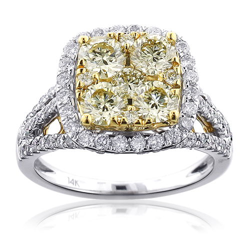Unique Natural Yellow Diamond Halo Engagement Ring 2.93ct 14K