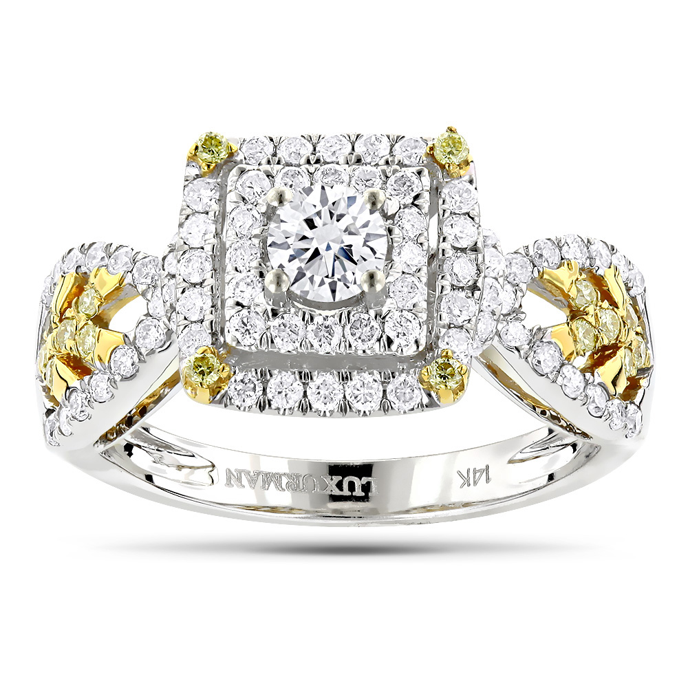 Unique One Carat White Yellow Diamond Engagement Ring by Luxurman 14K Gold White Image