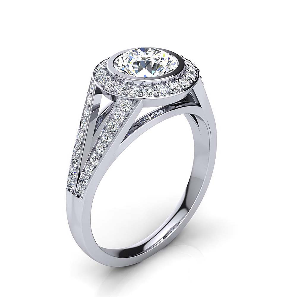 Unique Platinum Halo Diamond Engagement Ring by Luxurman 1.35ct Main Image