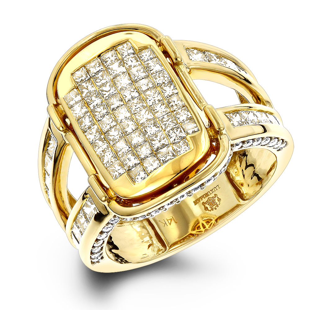 Unique Princess Cut White and Yellow Diamond Ring 2.5ct in 14k Gold Yellow Image