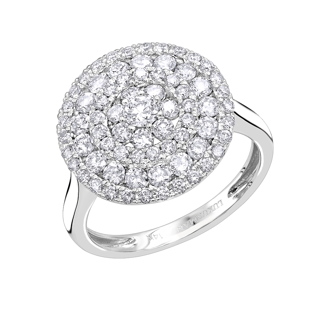 Unique Right Hand Ring: Round Diamond Ring for Women 14k Gold 1.5ct White Image