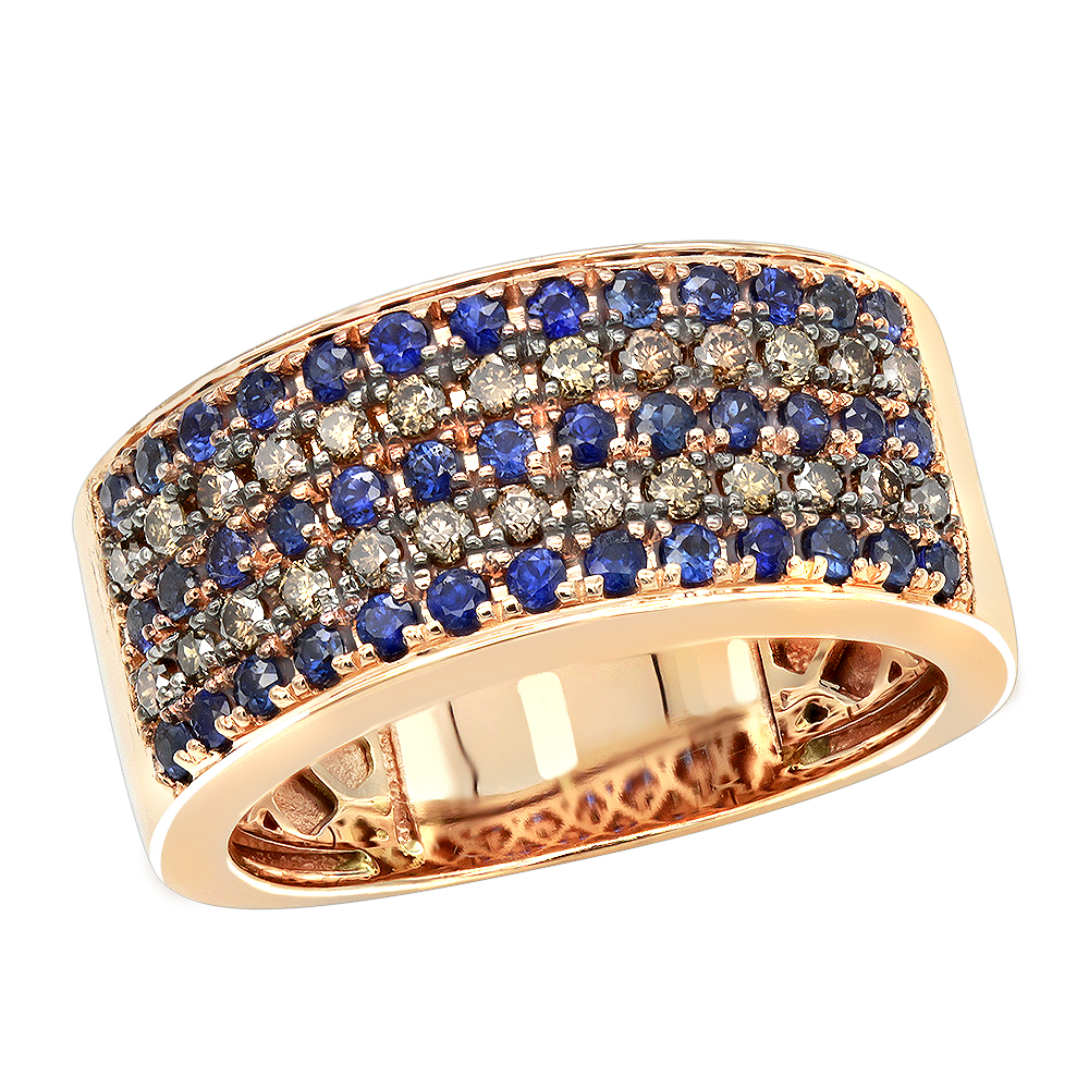 It is an image of Unique Rings 43K Gold Blue Sapphire Brown Diamond Wedding Band for Men