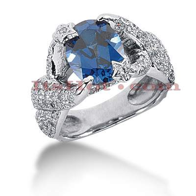 Unique Sapphire Engagement Ring with Diamonds 14K 1.98ctd 2cts Main Image