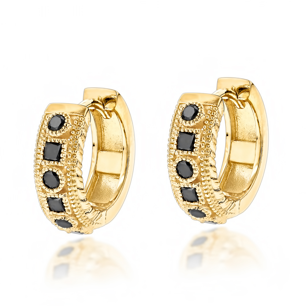 Unique Small Diamond Hoop Earring: Black Diamond Huggies in 14k Gold 0.85ct Yellow Image