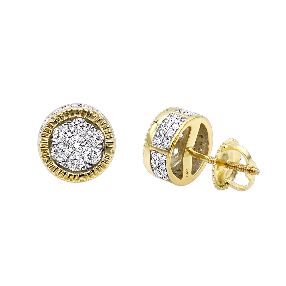 princess diamonds earrings stud diamond yellow gold cut products abef in genuine