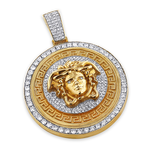 Unique Versace Style Diamond Pendant 6ct 10K Gold Medusa Head