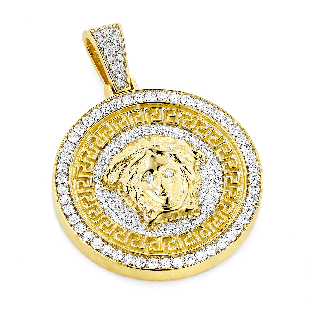 pendant hot plate solid collections shaped selling head medusa yellow with gold round products men
