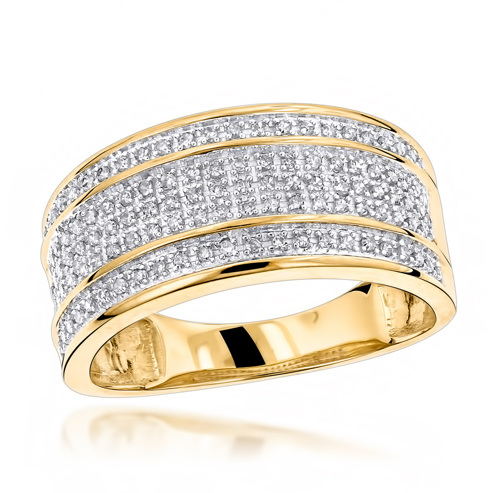 Unique Wedding Bands 10K Gold 5 Row Diamond Ring for Men Yellow Image