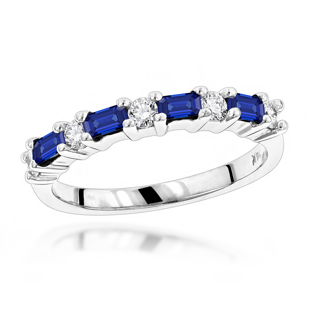 Unique Wedding Bands: 14K Gold Diamond and Sapphire Ring for Women 0.58ctw White Image