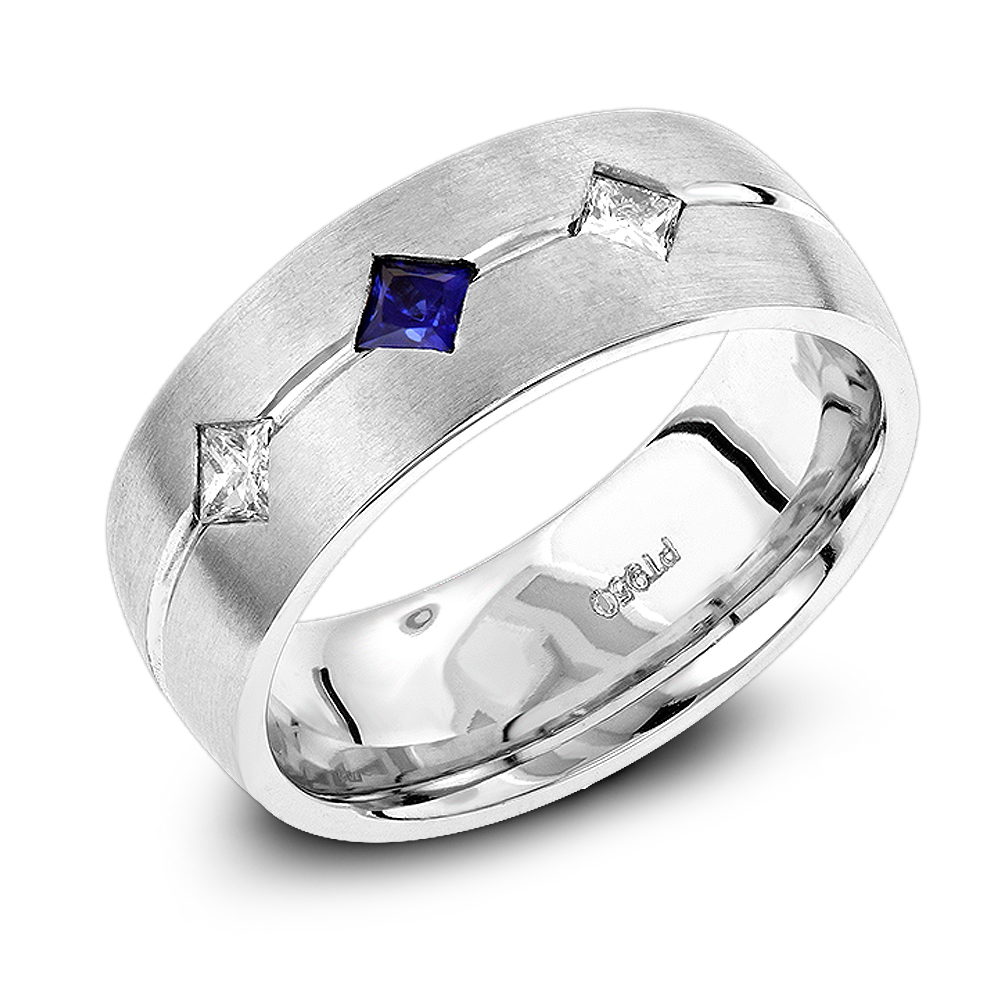 Unique Wedding Bands: Platinum Sapphire Diamond Wedding Ring for Men White Image