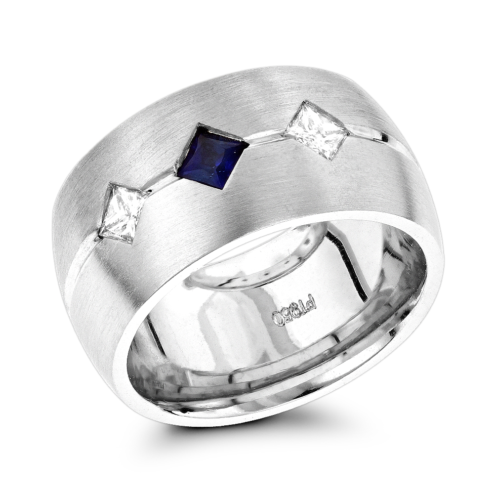 Unique Wedding Rings: Platinum Diamond Sapphire Wedding Band for Women White Image