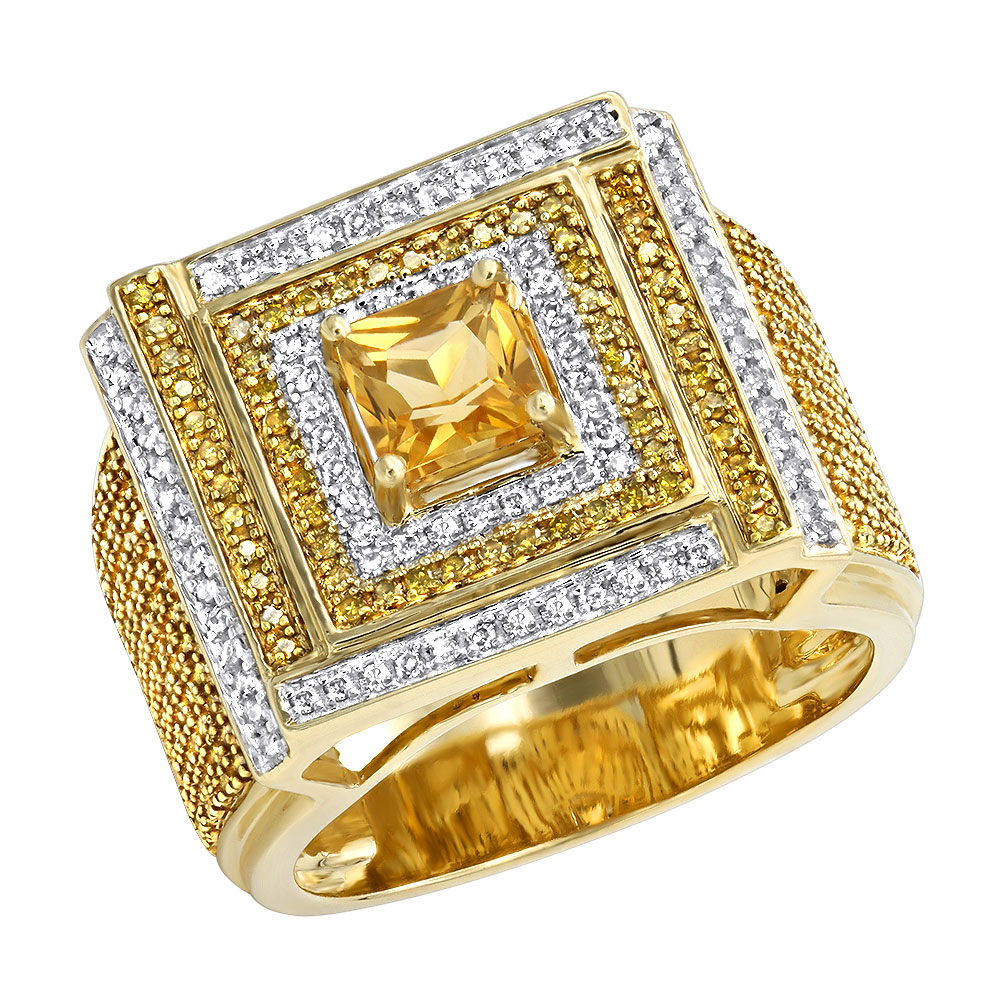 Unique White and Yellow Diamond Mens Ring 1.2ct 10K Gold Yellow Image