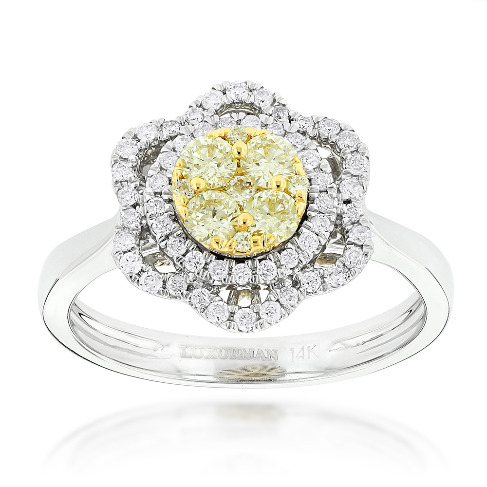 Unique White and Yellow Diamonds Flower Ring for Women 14K Gold 3/4ct