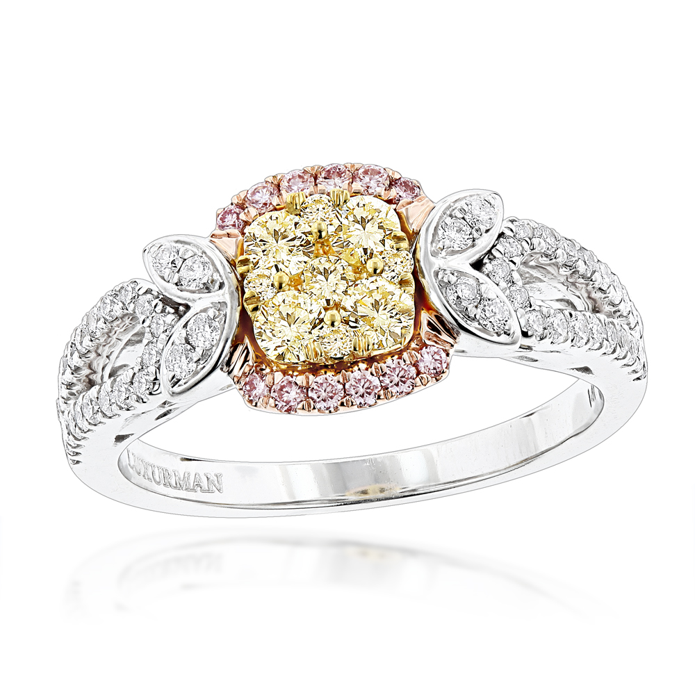 Unique White Pink Yellow Diamond Engagement Ring for Her 1 carat 14K Gold White Image