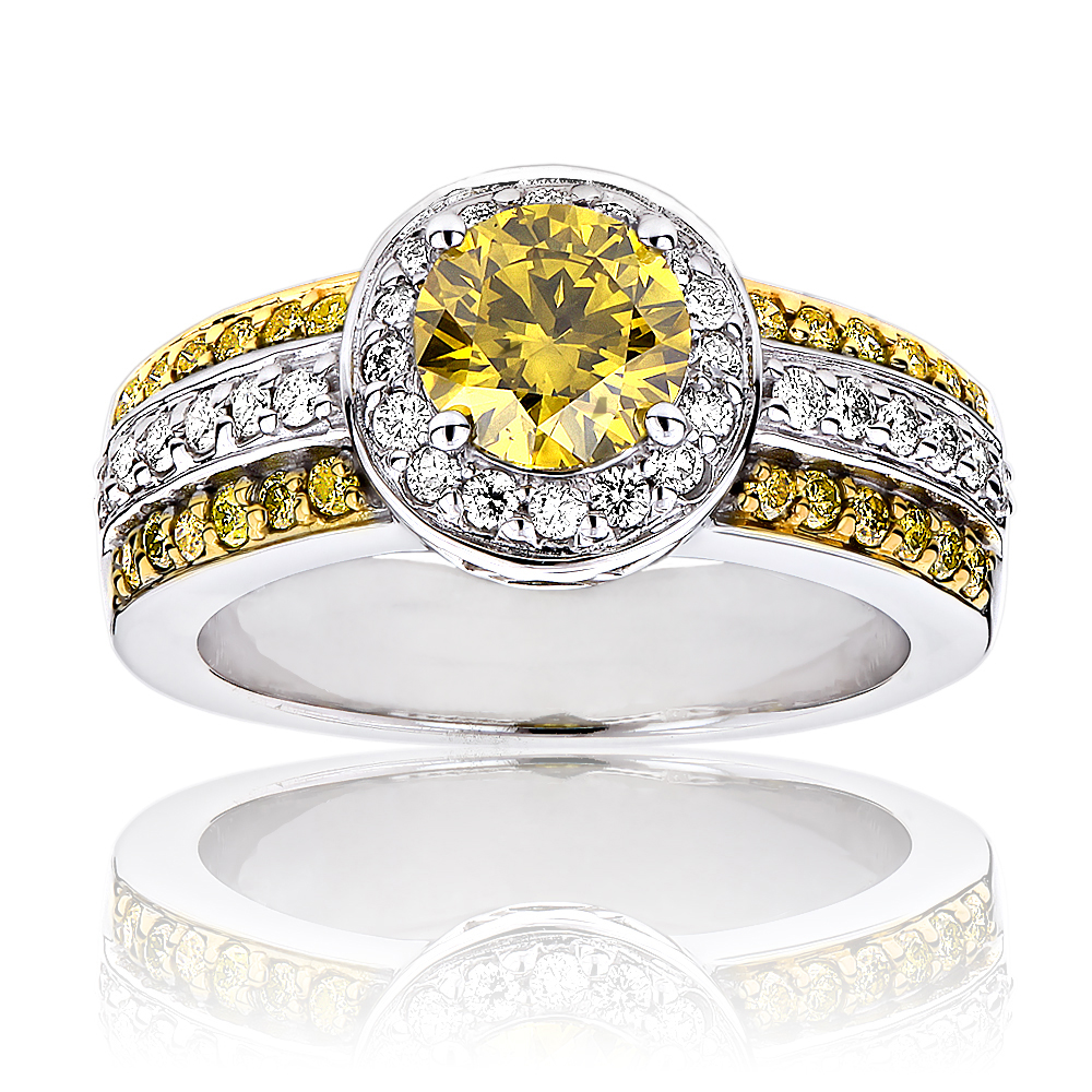 Unique White Yellow Diamond Engagement Ring Halo Design 14k Gold 1.65ct White Image