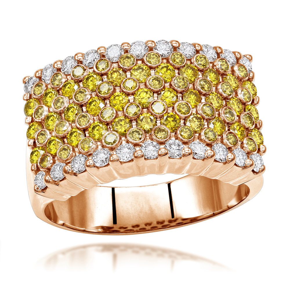 Unique White Yellow Diamond Ring for Men 3.5ct by Luxurman 14k Gold Rose Image