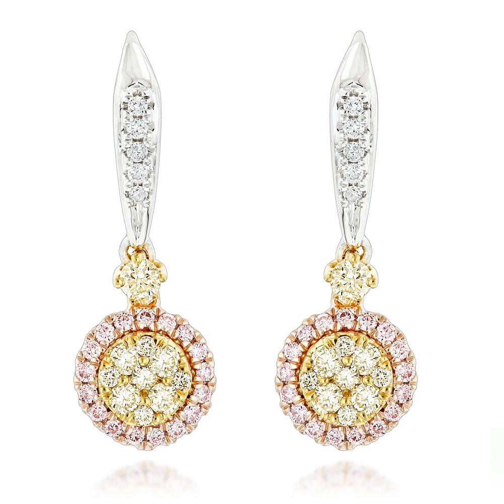 Unique White Yellow Pink Diamond Drop Earrings for Women 0.9ct 14K Gold White Image