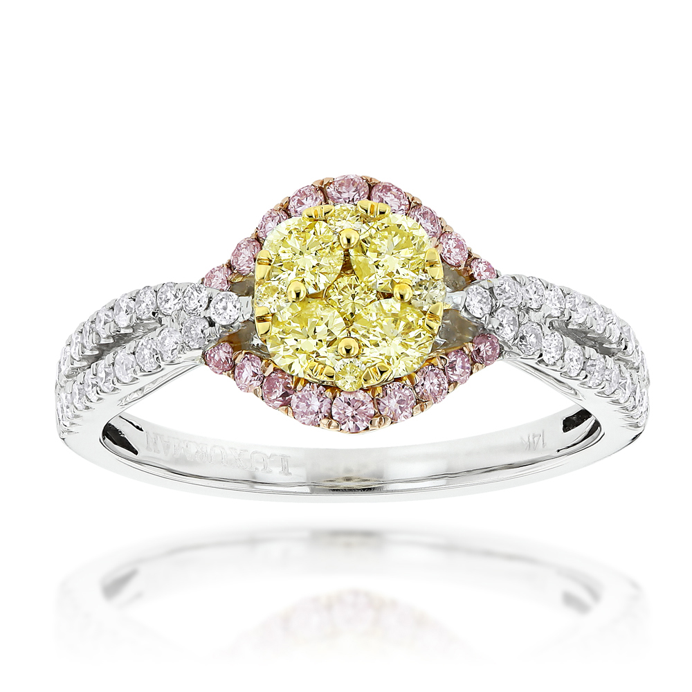 Unique White Yellow Pink Diamond Engagement Ring by Luxurman 1.2ct 14K Gold White Image