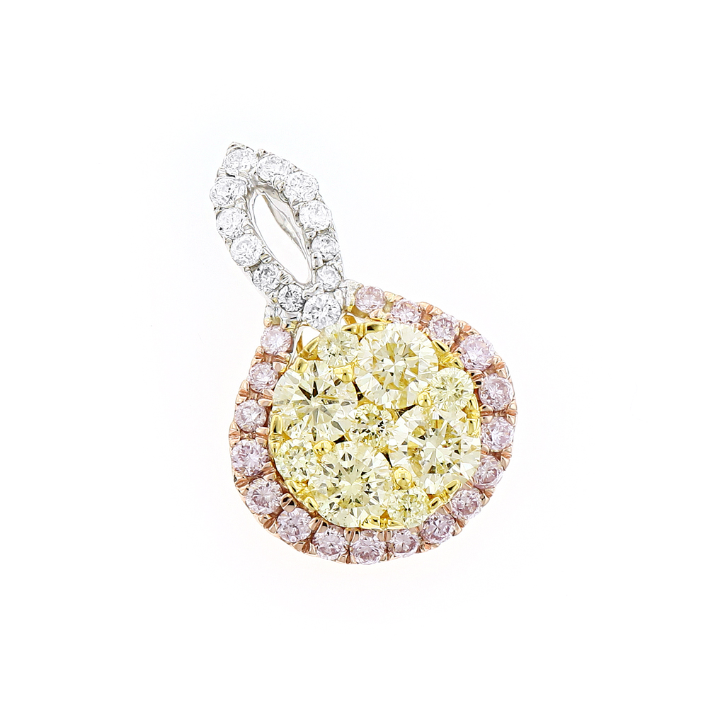 Unique White Yellow Pink Diamond Ladies Drop Circle Pendant 14K Gold 1ct White Image