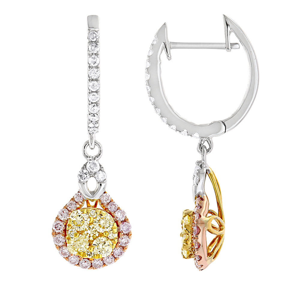 Unique White Yellow Pink Diamond Ladies Drop Earrings by Luxurman 1.3ct White Image