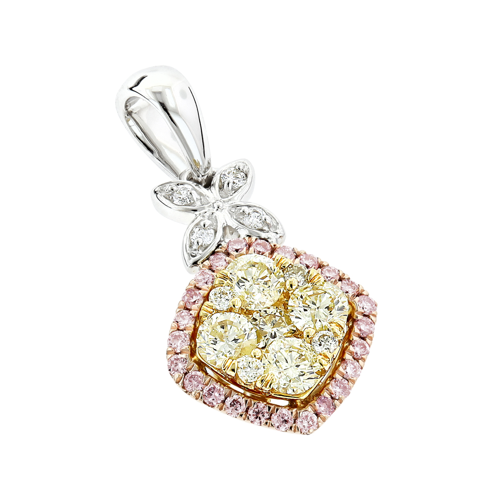 Unique White Yellow Pink Diamond Pendant for Women by Luxurman 0.78ct White Image