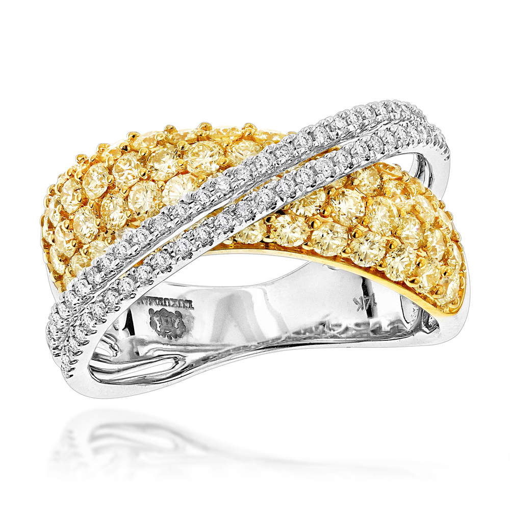 Unique Womens Luxurman 2.25ct White Yellow Diamond Cocktail Ring 14K Gold  White Image