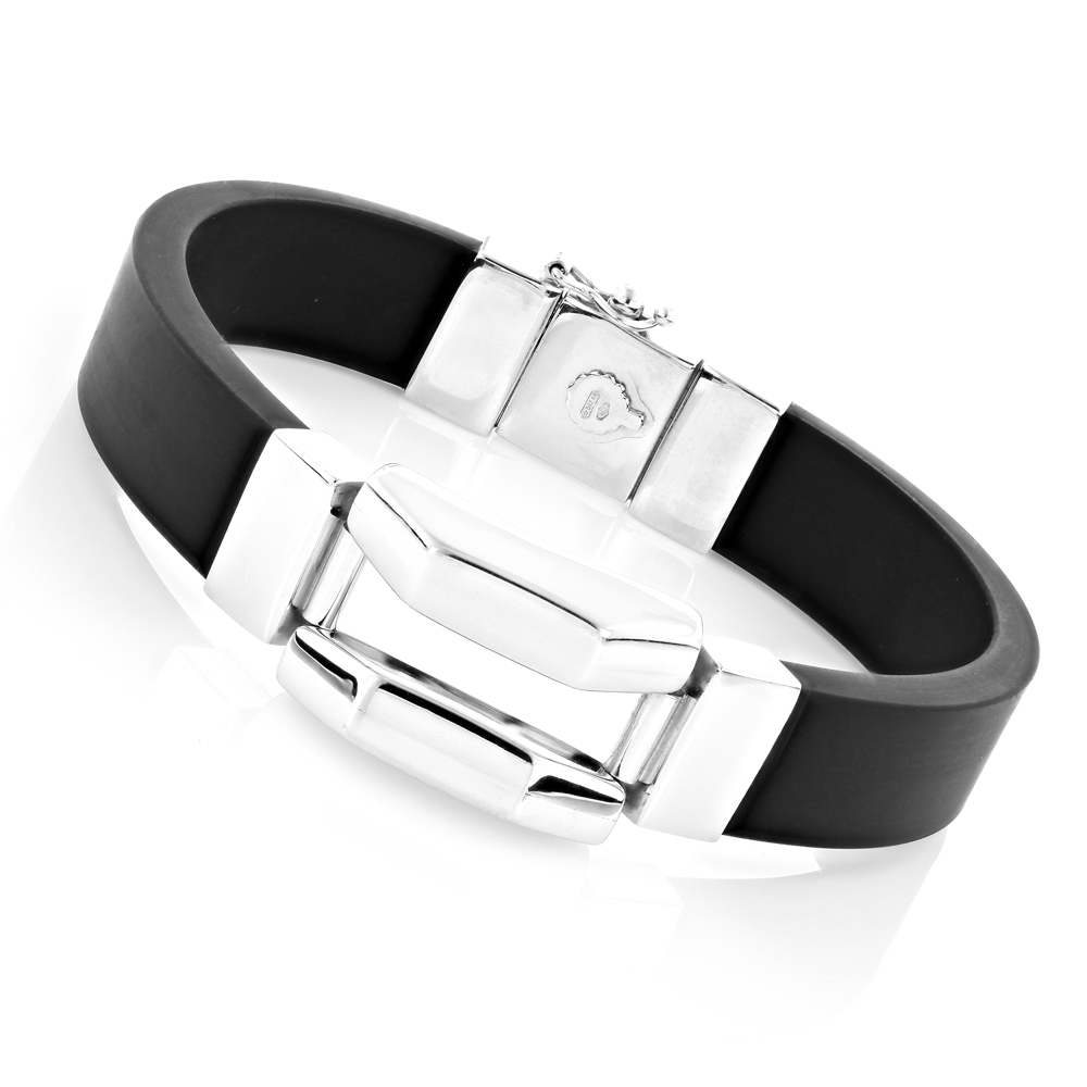 Unisex 18K White Gold and Rubber Bracelet Main Image